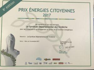 Transition énergétique : le SDE 07 reçoit le prix Energies Citoyennes